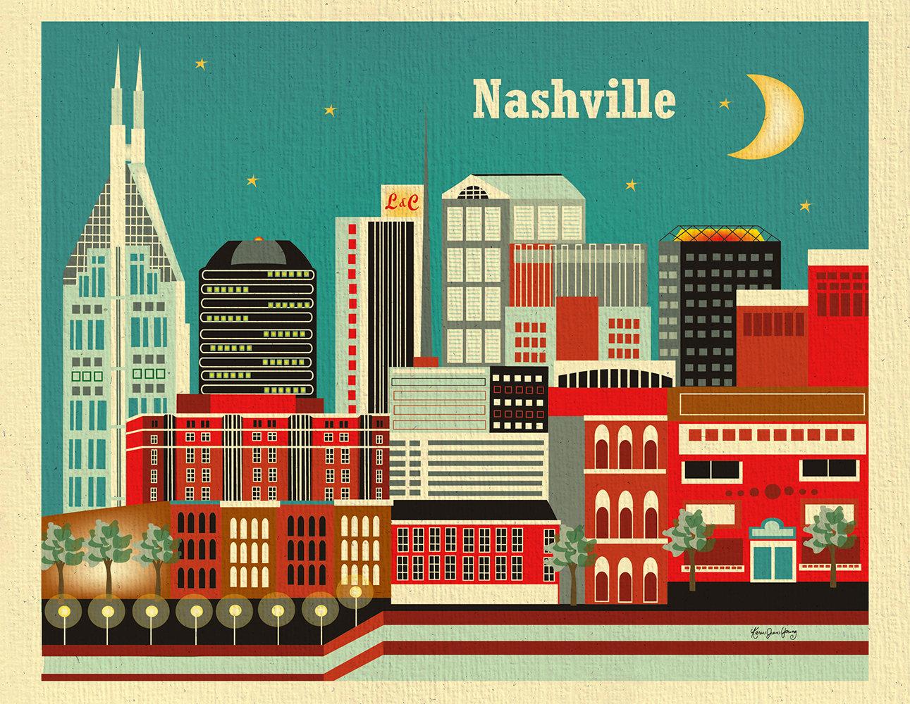 Nashville Poster, Print, Greeting Card illustration